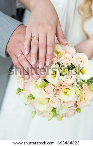 The Hand Of Groom And Brides With Wedding Rings On A Background