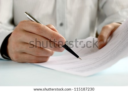 the hand of the man does entries in official papers