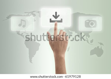 The hand presses download button - stock photo
