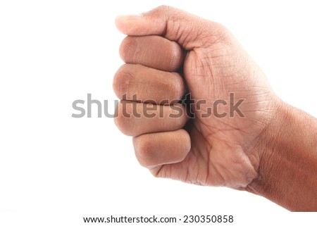 The hand punching isolated on white background. - stock photo