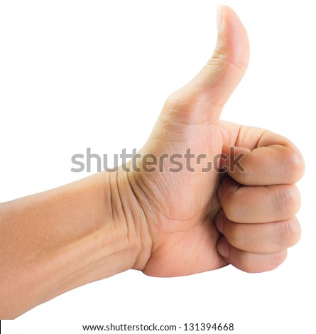 The hand shows thumbs up, isolated on white background