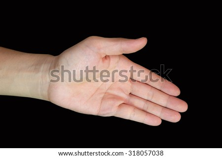 The hand symbol on a black background.