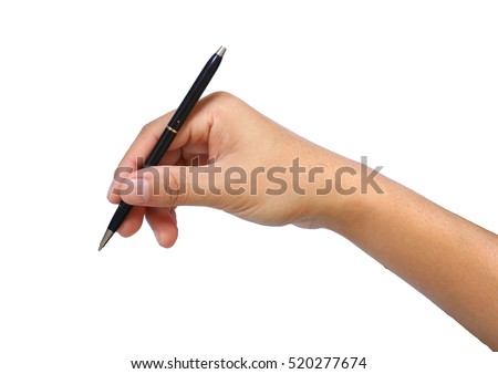 The Hand with black parker pen isolated on the white background. Hand with pen write