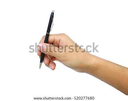 The Hand with black pen isolated on the white background. Hand with Parker Pen write