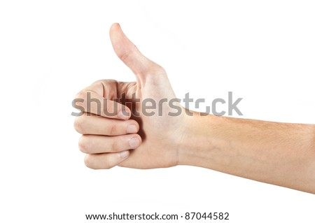 the hand with forefinger up on the white
