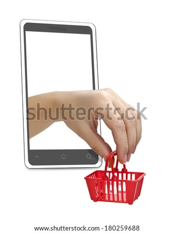 The hand with the grocery cart in a mobile phone. Trade via the Internet. - stock photo
