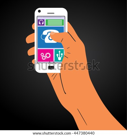 The hand with the phone. iilustration