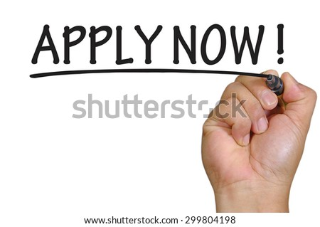 The hand writing apply now - stock photo