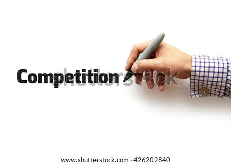 The hand writing- competition - stock photo