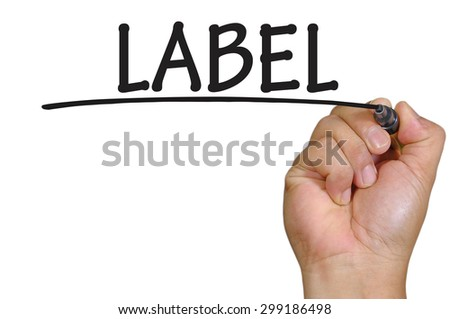 The hand writing label