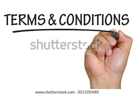 The hand writing terms and conditions