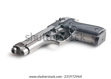 the handgun on white background - stock photo