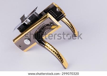 The handle for the front door, door fittings.door lock - stock photo