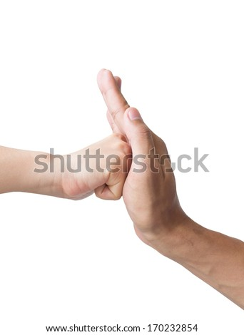 The hands are punching isolated on white background. - stock photo