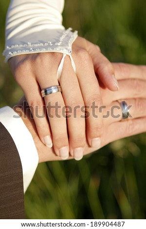 The hands of a bride and a groom