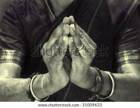 The hands of an Indian dancer in temple mudra. - stock photo