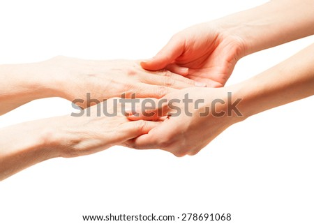 the hands of an old man with wrinkles . hands touch her daughter and mother. manifestation of tenderness and love. - stock photo