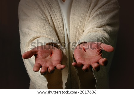 The Hands of Jesus showing scars