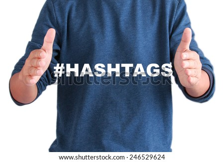 The hands of men with text hashtags - stock photo