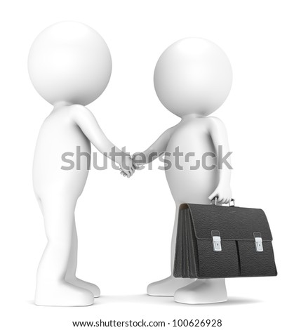 The Handshake. 3D little human character X 2 shaking hands. One with a Black leather Briefcase