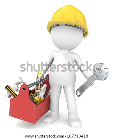 The Handyman. 3D little human character The Builder with a toolbox People series. - stock photo