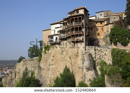 The hanging house in the city of Cuenca in the La Mancha region of central Spain.
