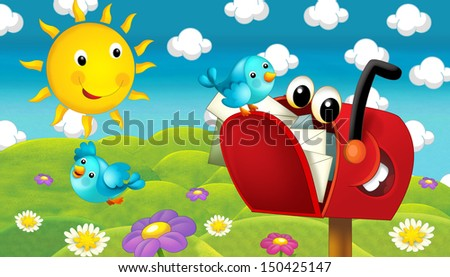 The happy and colorful illustration for the children