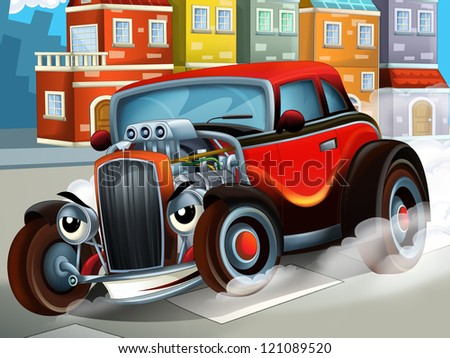 The happy cartoon hod rod - city look - race - illustration for the children - stock photo