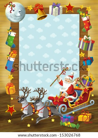 The happy christmas frame - border - illustration for the children - stock photo