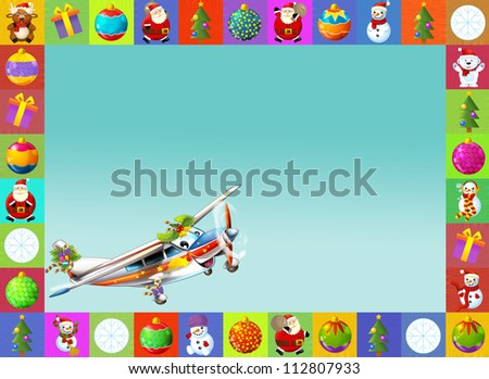 The happy christmas scene - with frame - christmas plane - vehicle - illustration for the children