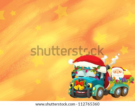 The happy christmas scene - with frame - christmas robots - robotics - electronics - robot reindeer - illustration for the children