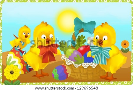 The happy easter - illustration for the children - stock photo