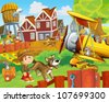 The happy farm illustration for kids - many different elements - an old plane - stock photo