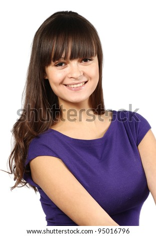 The happy girl on a white background