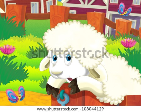 The happy illustration with sheep lying or jumping through the fence
