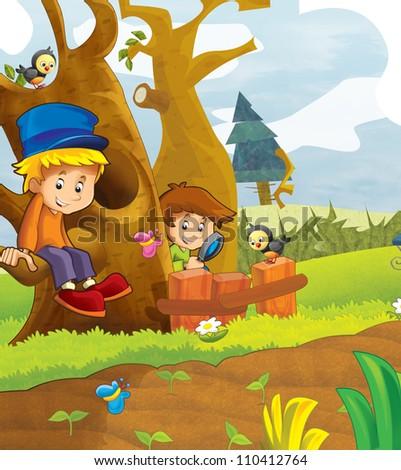 The happy kids having fun in the vegetable garden - illustration for the children 3 - stock photo
