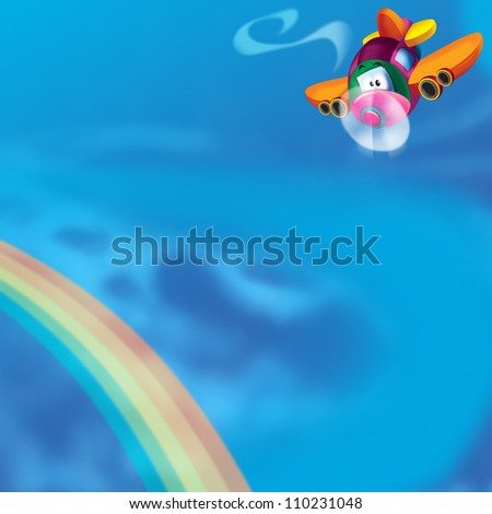 The happy plane is flying on the sky - near the rainbow - illustration for the children - with space for text 1 - stock photo