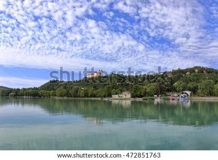 The harbor and the Abbey of Tihany in Hungary