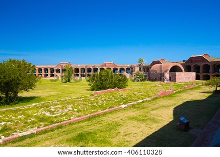 The Harbor Light sits atop of the Civil War Fort Jefferson in the Dry Tortugas Civil War Prison - stock photo
