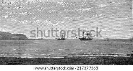 The harbor of Panama, vintage engraved illustration. Journal des Voyages, Travel Journal, (1879-80). - stock photo