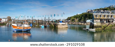 The harbour at Mevagissey an historic fishing port on the south coast of Cornwall - stock photo