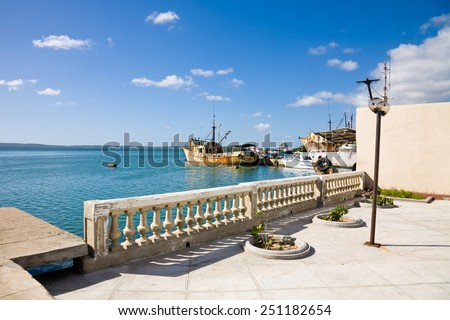 The harbour of Cienfuegos with some old rusty boats, Cuba - stock photo
