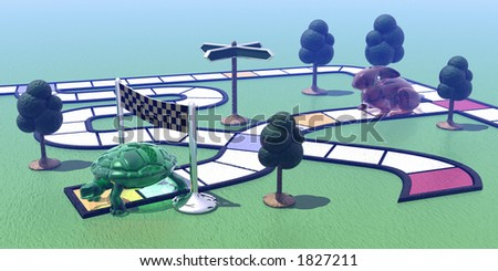 The hare and the tortoise - stock photo