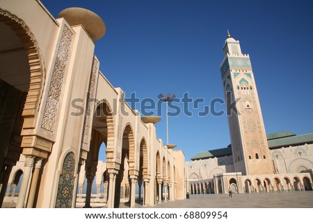 The Hassan II Mosque, featuring the worlds tallest Minaret, in Casablanca, Morocco.