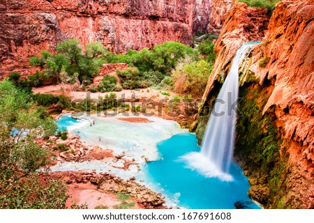 The Havasu Falls in the Havasupai Indian Reservation - Grand Canyon - stock photo