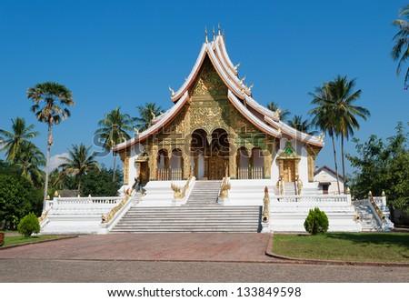 The Haw Pha Bang (Ho Pha Bang) is located at the northeastern corner of the grounds of the Royal Palace Museum. Luang Prabang. Laos - stock photo