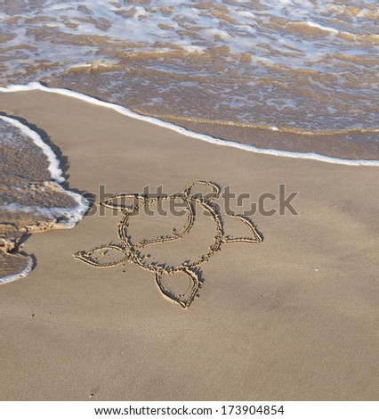 The hawaiian symbol for the green sea turtle traced in the sand in Maui Hawaii - stock photo