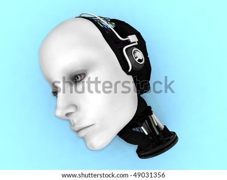 The head of a female robot lying on the floor.
