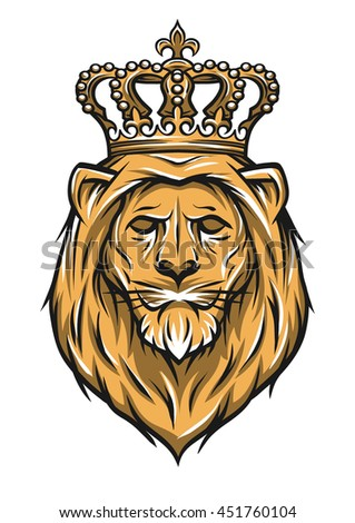 The head of a lion with a crown. Color version. Illustration vector copy.