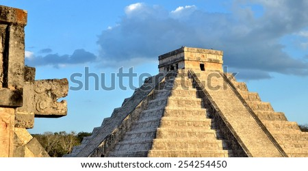 The head of the snake in Chichen Itza, Mexico - stock photo